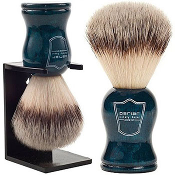Parker Safety Razor 100% Silvertip Badger Bristle Faux Horn Handle Shaving Brush