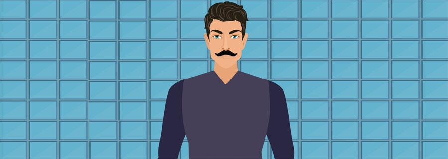 Petite Handlebar Mustache
